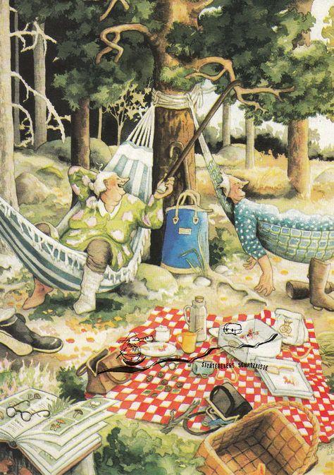 Rast in Hängematten 14 Inge Löök Kunstpostkarte Nr