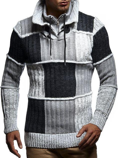 Tazzio 16483 Jersey de punto grueso para hombre con capucha