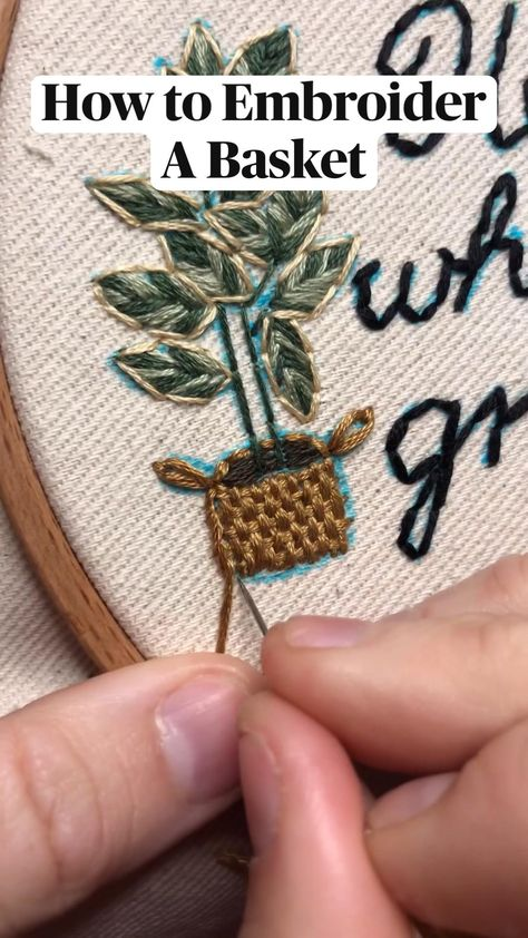 How to embroider a basket.