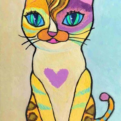 個性的な猫の絵 ねこみち 猫道 中尾道也 猫 絵 猫 絵