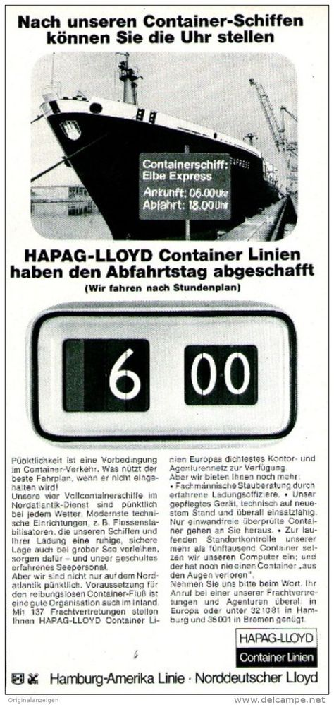 begrenzter Stil Release-Info zu an vorderster Front der Zeit Original-Werbung/ Anzeige 1969 - HAPAG-LLOYD CONTAINER ...
