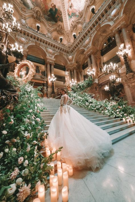 Rule like a Queen - the outstanding hand embroidered makes you feel like royalty with custom made florals Image: Wedding Goals, Our Wedding, Wedding Venues, Dream Wedding, Wedding Castle, Paris Wedding, Royalty Wedding Theme, Princess Wedding Themes, Cinderella Wedding Dresses