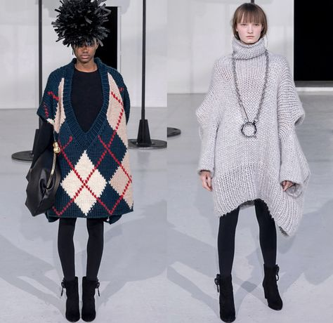 ANREALAGE 2019-2020 Fall Autumn Winter Womens Runway Catwalk Looks Kunihiko Morinaga - Mode à Paris Fashion Week France - Details Deconstructed Supersize Oversized Enlarged Close Up Giant Magnified Denim Jeans Waistband Pockets Knit Crochet Fringes Wide Lapel Coat Motorcycle Biker Quilted Puffer Turtleneck Pellegrina Cape Shirt Plaid Check Buttons Argyle Houndstooth Necklace Hook Palazzo Pants Cinch Ear Buds Zipper Tights Leggings Boots Shower Cap