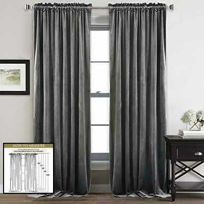 Details About Gray Velvet Curtains 84 Soft Thick Blackout Curtain Drapes Therm Grey W52 X L84 In 2020 Velvet