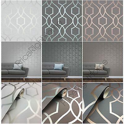 Fine Decor Apex Geometric Trellis Wallpaper Stone Grey Silver More Feature Wall Ebay In 2020 Wallpaper Bedroom Feature Wall Feature Wall Bedroom Geometric Trellis Wallpaper