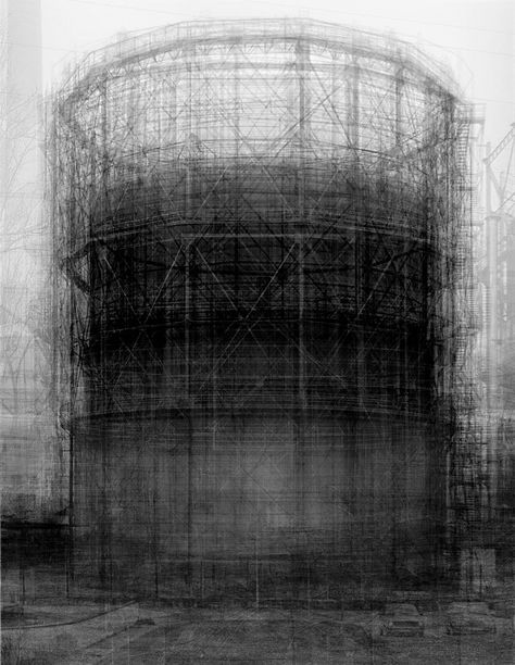 Idris Khan Homage to Bernd Becher Every… Bernd and Hilla Becher Prison Type Gasholder. Idris Khan's ghostly composite Photograph: Victoria Miro Gallery, London