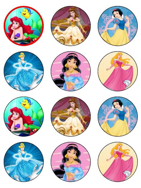 Pre Cut Disney Princess Assorted 213 Round Icing Cake Toppers cakepins.com