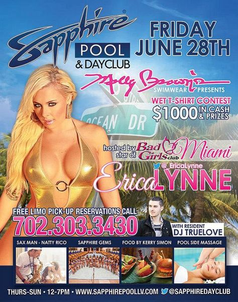 Bad Girls Club: Miami Star Erica Lynne to Host Wet T-Shirt Contest at Sapphire Pool & Dayclub on Friday, June 28