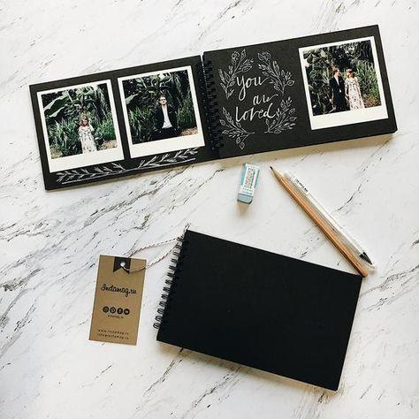 Create Polaroid guest book Friends album Black mini album | Etsy