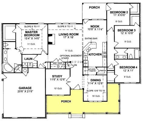 House Plan 4848 00259 Southern Plan 2 191 Square Feet 4 Bedrooms 2 Bathrooms In 2020 Country Style House Plans Bedroom Floor Plans House Plans