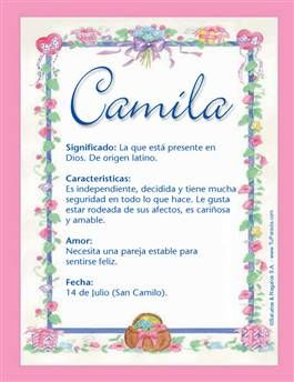 Nombre Camila Significados De Los Nombres Feliz Cumpleaños Maria Jose Origen De Los Apellidos
