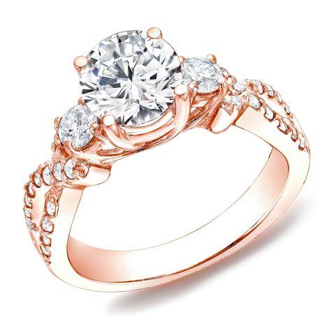Auriya Rose Gold 1 TDW Blue Round Diamond Three-stone Ring (H-I, - Overstock Shopping - Top Rated Auriya Engagement Rings