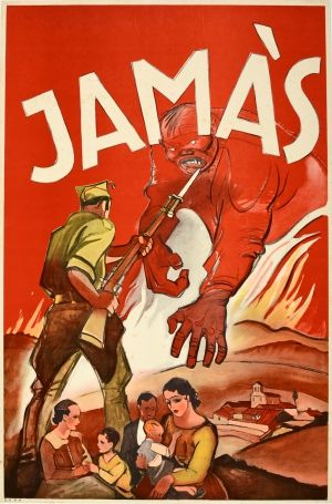 Jamas Never Spanish Civil War 1930s Original Vintage Anti Communist Spanish Civil War Propaganda Poster Jamas Neve In 2020 Propaganda Posters Civil War Spanish War