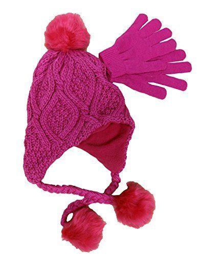 ef5a7a633 Berkshire Girls' 2-Pc. Heidi Hat & Gloves Set Hot Pink One Size. Hat ...