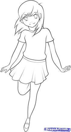 Full Body Woman Drawing Cartoon