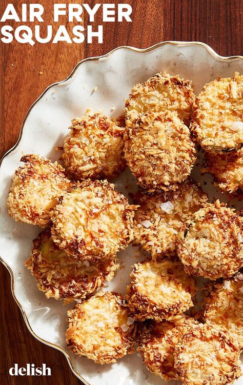 We love the air fryer for most everything, but especially for breaded veggies. The squash (green or yellow works!) gets just as crispy as if it was deep fried, and even more so than baking. It's a great side dish or for dipping in marinara.
