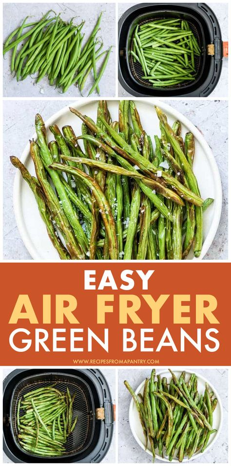 You will love these tasty and healthy air fryer green beans that are ready in less than 10 minutes! Click through to get the step by step recipe for air fried green beans. #airfryer #airfryerrecipes #airfryergreenbeans #greenbeans #airfried #airfryervegetables #greenbeansrecipe #veganrecipes #healthyairfryerrecipes #airfryerrecipeshealthy #veganairfryerrecipes