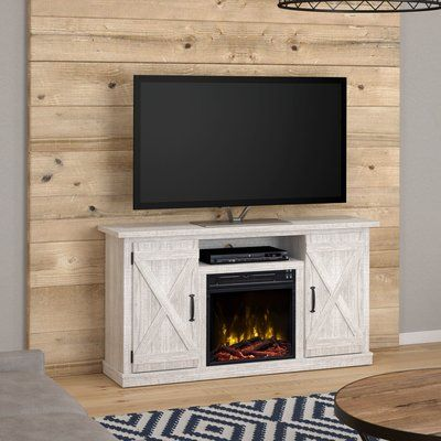 Laurel Foundry Modern Farmhouse Lorraine Tv Stand For Tvs Up To 55 With Electric Fireplace Included Wayfair Farm House Living Room Electric Fireplace Tv Stand Living Room Tv Stand