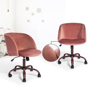 Meubles Chic Chaise De Bureau Fauteuil Secretaire Velours Metal Hauteur Reglable Roulettes Pivotantes Rose Chaise Bureau Mobilier De Salon Chaise