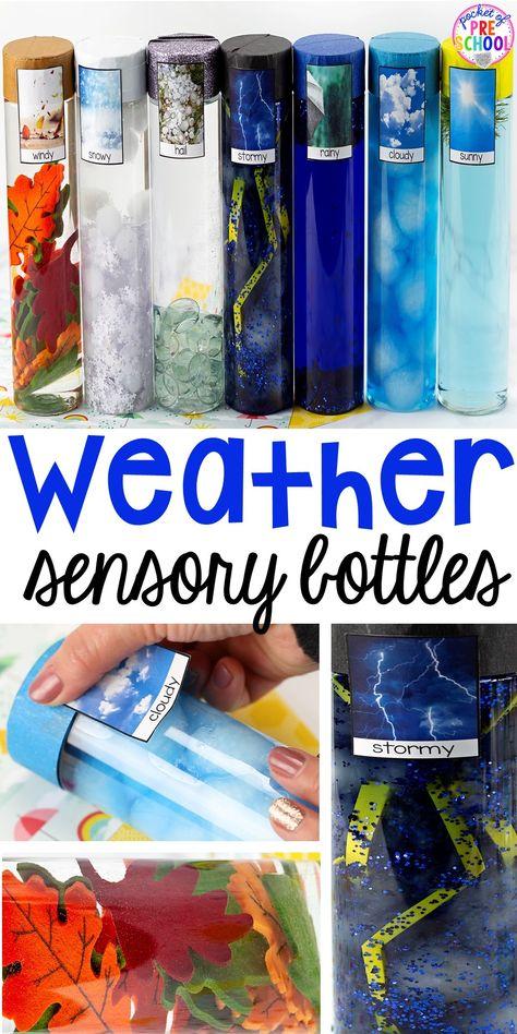 Weather sensory bottles is af fun way to explore the weather inside and FREE weather photo labels. #weathertheme #preschool #prek #toddler #sensorybottles