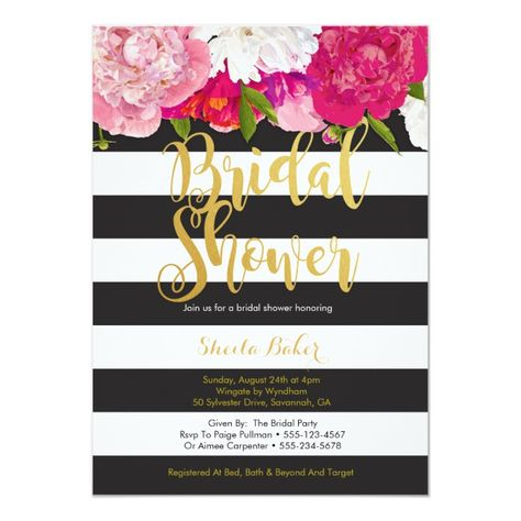 Bridal Shower Invitation - Floral Black White Floral#Black#White#Invitation