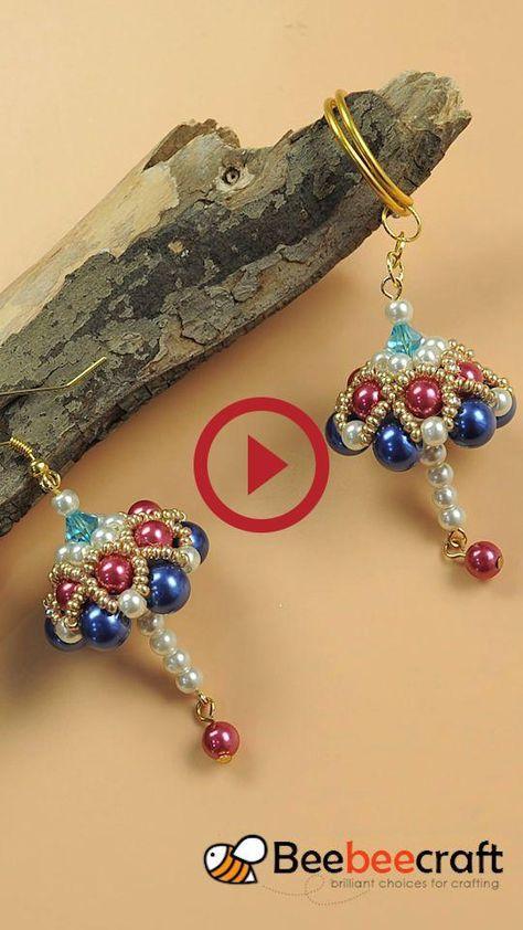 #Bebeecraft Tutorials on making unbrella-shipped #earrings with #pearlbeas.  #bebeecraft #earrings #making #pearlbeas #shipped #tutorials #unbrella