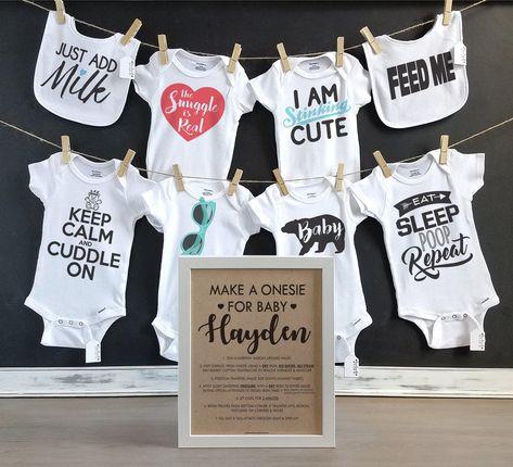 024a05c25 Unisex Onesie Decorating Kit/ Personalized Kraft Sign/ DIY Baby Shower Kit/  Decorating Station