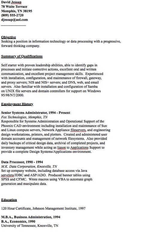 Example of Data Processor Resume - http\/\/resumesdesign - resume for servers