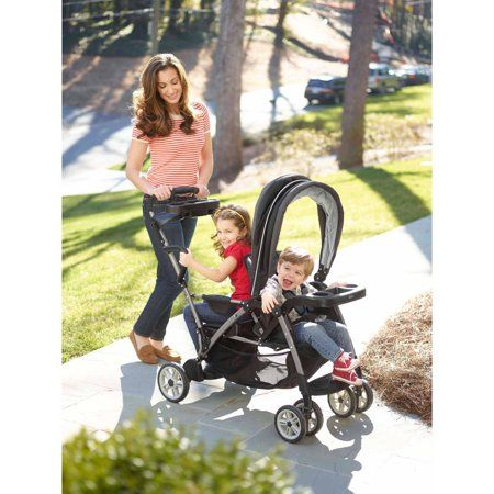 Graco Room For 2 Click Connect Stand Ride Double Stroller Gotham Image 2 Of 9 Double Strollers Twin Strollers Graco Stroller