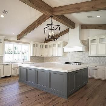 Kitchen Remodel Ideas Ivory Cabinets with Grey Island, Transitional, Kitchen Farmhouse Kitchen Cabinets, Modern Farmhouse Kitchens, Home Kitchens, Kitchen Modern, Rustic Cabinets, Grey Kitchens, Farmhouse Renovation, Colonial Kitchen, Farmhouse Sinks