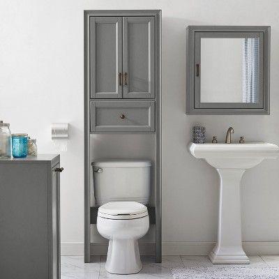 Tara Space Saver Cabinet Over The Toilet Etagere Gray Crosley Toilet Storage Bathroom Cabinets Designs Bathroom Storage
