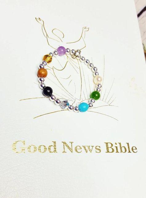 Check Out Psalms 23 Beaded Gemstone Bracelet For Godchild Birthday Gift 1st Communion Gifts Daughter Handmade Inspirational Meaningful On