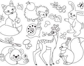 Jungle Animals Clipart Digital Vector Safari Animals Jungle Animal Coloring Pages Animal Clipart Cute Wild Animals