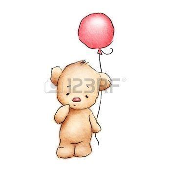 Dessin Poupee Mignon Bébé Ours Avec Ballon Rouge Sur Fond