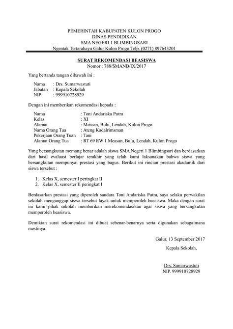 Contoh Surat Rekomendasi Beasiswa Dari Kepala Sekolah Dalam