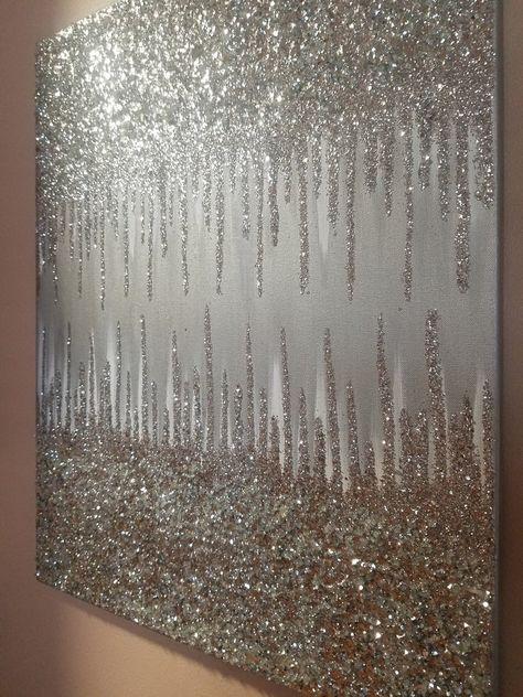 Glitter Room, Glitter Paint For Walls, Glitter Wall Art, Glitter Canvas, White Acrylic Paint, Diy Canvas Art, Diy Wall Art, Junk Gypsies Decor, Boho Glam Home