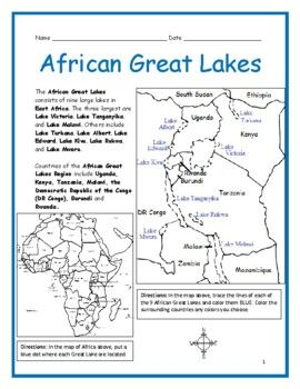 Printable Map Of Great Lakes : printable, great, lakes, AFRICAN, GREAT, LAKES, Printable, Worksheets, Interactive, Printables, Geography, Printables,, African, Great, Lakes,