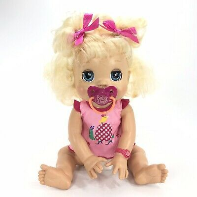 Hasbro Baby Alive My Real Baby Doll 2009 Soft Face Brown Hair Interactive Dress Baby Alive Dolls Interactive Baby Dolls Real Baby Dolls