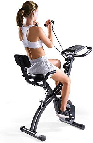 New Maxkare Folding Magnetic Upright Exercise Bike W Pulse Sensor Lcd Monitor Indoor Cycling Bike S Biking Workout Recumbent Bike Workout Upright Exercise Bike