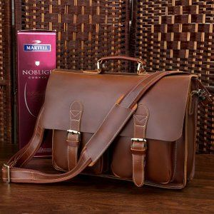 a8968a3f27a9 Handmade Superior Leather Briefcase Messenger Bag with 14