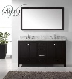 60 Inch Double Sink Bathroom Vanity Set With Matching Mirror Uvvu50060wm61 With Images Double Vanity Bathroom