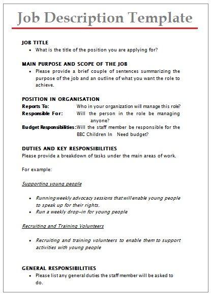 Job Description Templates 10 Printable Pdf Word Formats Job