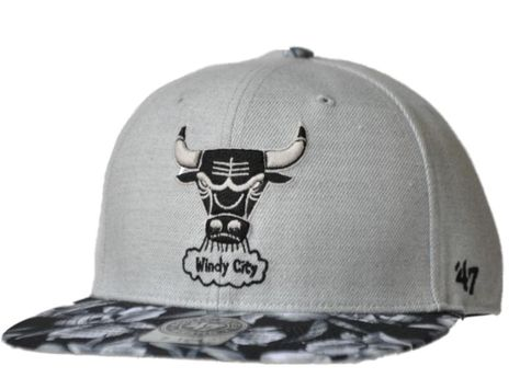 7bd4995d0be  Chicago Bulls 47 Brand Women Gray Floral Bill Fitted Flat Billed Hat Cap  (7 1 4) from  24.99