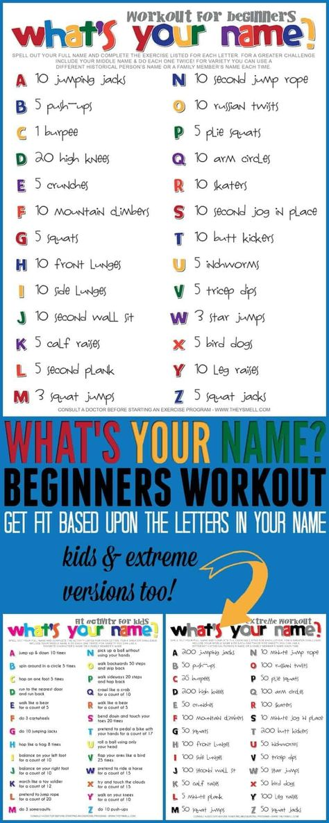 Name workout for beginners. Get moving in a fun and creative way with this fitness routine you can do at home. #fitness #workout #exercise