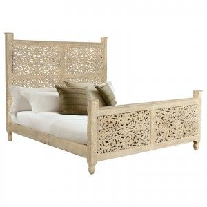 Dynasty Hand Carved Indian Solid Wooden Emily Bed Frame White In 2020 Panel Bed Frames Natural Wood Bed Bed Frame With Storage