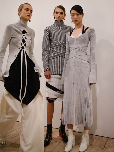 Monochrome pleated fabrics. Exploring 'notions of control and release', designer McCollough and Hernandez debuted a collection where lacing, bandaging and belting ran rife Proenza Schouler AW16 New York