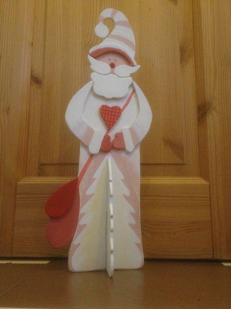 Weihnachtsmann Laubsägearbeit Bemalt mit Acrylfarben Holz - beistelltisch design kreten innen ausenraume