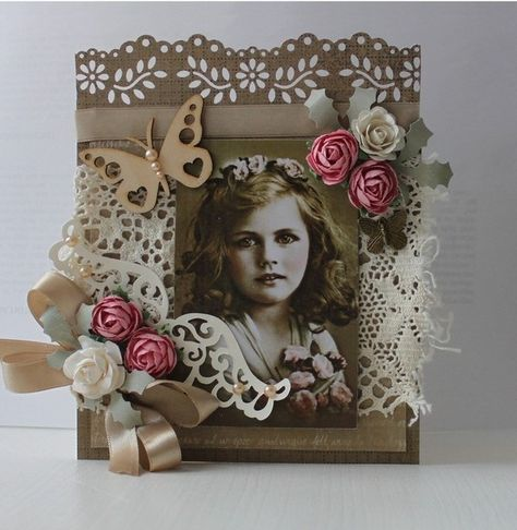 Gorgeous heritage card with punched edges and dimensional flower embellishments.