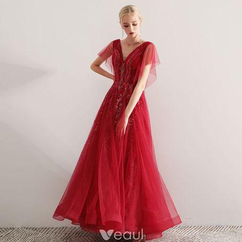 d40a7bc21b Piękne Burgund Sukienki Wieczorowe 2019 Princessa V-Szyja Z Koronki  Aplikacje Frezowanie Kryształ Kótkie Rękawy Bez Pleców Długie Sukienki  Wizytowe