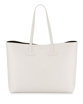 Tom Ford Saffiano Large Leather T Tote Bag With Images White